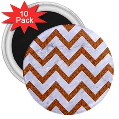 Chevron9 White Marble & Rusted Metal (r) 3  Magnets (10 Pack)  by trendistuff