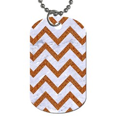 Chevron9 White Marble & Rusted Metal (r) Dog Tag (two Sides) by trendistuff