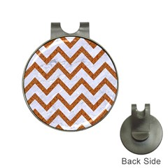 Chevron9 White Marble & Rusted Metal (r) Hat Clips With Golf Markers