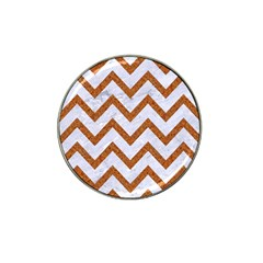 Chevron9 White Marble & Rusted Metal (r) Hat Clip Ball Marker by trendistuff