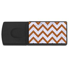 Chevron9 White Marble & Rusted Metal (r) Rectangular Usb Flash Drive by trendistuff