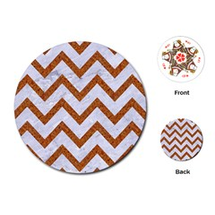 Chevron9 White Marble & Rusted Metal (r) Playing Cards (round)  by trendistuff