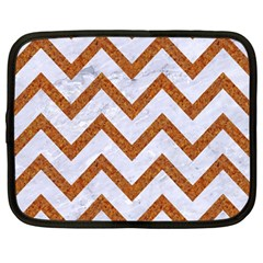Chevron9 White Marble & Rusted Metal (r) Netbook Case (large) by trendistuff