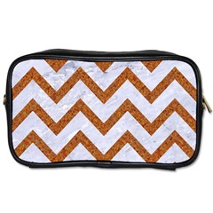 Chevron9 White Marble & Rusted Metal (r) Toiletries Bags 2 Side by trendistuff