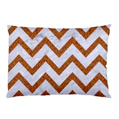 Chevron9 White Marble & Rusted Metal (r) Pillow Case (two Sides) by trendistuff
