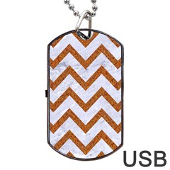 Chevron9 White Marble & Rusted Metal (r) Dog Tag Usb Flash (two Sides) by trendistuff