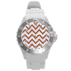 Chevron9 White Marble & Rusted Metal (r) Round Plastic Sport Watch (l) by trendistuff