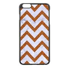 Chevron9 White Marble & Rusted Metal (r) Apple Iphone 6 Plus/6s Plus Black Enamel Case by trendistuff