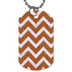 Chevron9 White Marble & Rusted Metal Dog Tag (two Sides) by trendistuff