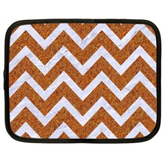 Chevron9 White Marble & Rusted Metal Netbook Case (large) by trendistuff