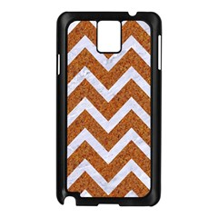Chevron9 White Marble & Rusted Metal Samsung Galaxy Note 3 N9005 Case (black) by trendistuff