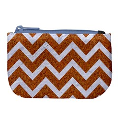 Chevron9 White Marble & Rusted Metal Large Coin Purse by trendistuff