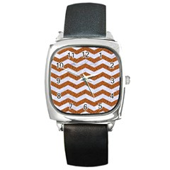 Chevron3 White Marble & Rusted Metal Square Metal Watch by trendistuff