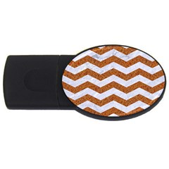 Chevron3 White Marble & Rusted Metal Usb Flash Drive Oval (4 Gb) by trendistuff