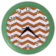 Chevron3 White Marble & Rusted Metal Color Wall Clocks by trendistuff