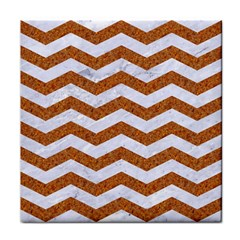 Chevron3 White Marble & Rusted Metal Face Towel by trendistuff