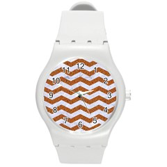 Chevron3 White Marble & Rusted Metal Round Plastic Sport Watch (m) by trendistuff
