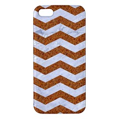 Chevron3 White Marble & Rusted Metal Apple Iphone 5 Premium Hardshell Case by trendistuff