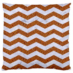 Chevron3 White Marble & Rusted Metal Standard Flano Cushion Case (two Sides) by trendistuff