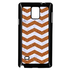 Chevron3 White Marble & Rusted Metal Samsung Galaxy Note 4 Case (black) by trendistuff