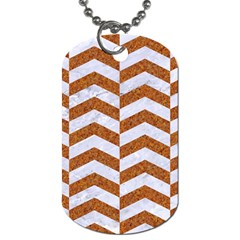 Chevron2 White Marble & Rusted Metal Dog Tag (two Sides) by trendistuff