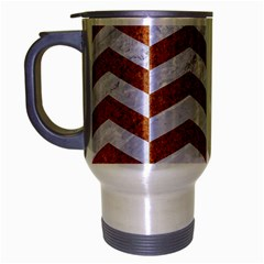 Chevron2 White Marble & Rusted Metal Travel Mug (silver Gray) by trendistuff