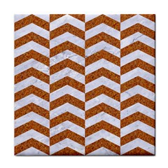 Chevron2 White Marble & Rusted Metal Face Towel by trendistuff