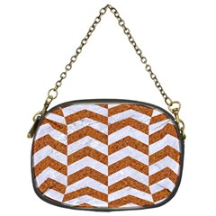 Chevron2 White Marble & Rusted Metal Chain Purses (one Side)  by trendistuff