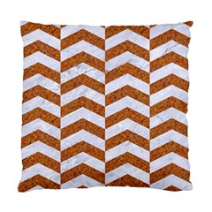 Chevron2 White Marble & Rusted Metal Standard Cushion Case (two Sides) by trendistuff