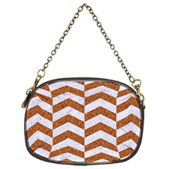 Chevron2 White Marble & Rusted Metal Chain Purses (two Sides)  by trendistuff