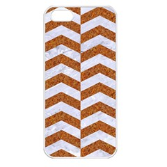 Chevron2 White Marble & Rusted Metal Apple Iphone 5 Seamless Case (white) by trendistuff