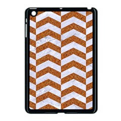 Chevron2 White Marble & Rusted Metal Apple Ipad Mini Case (black) by trendistuff