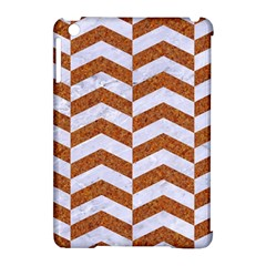 Chevron2 White Marble & Rusted Metal Apple Ipad Mini Hardshell Case (compatible With Smart Cover) by trendistuff