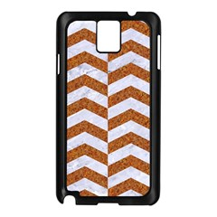 Chevron2 White Marble & Rusted Metal Samsung Galaxy Note 3 N9005 Case (black) by trendistuff