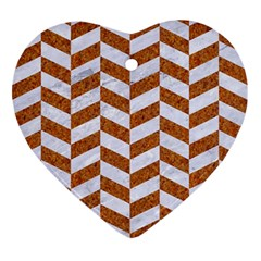 Chevron1 White Marble & Rusted Metal Ornament (heart) by trendistuff