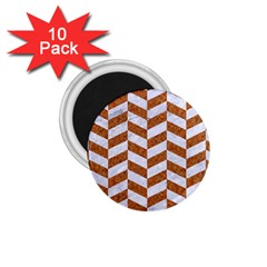 Chevron1 White Marble & Rusted Metal 1 75  Magnets (10 Pack)  by trendistuff