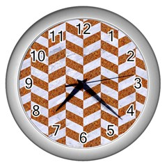 Chevron1 White Marble & Rusted Metal Wall Clocks (silver)  by trendistuff