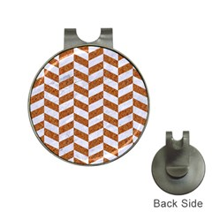 Chevron1 White Marble & Rusted Metal Hat Clips With Golf Markers