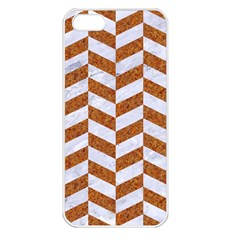 Chevron1 White Marble & Rusted Metal Apple Iphone 5 Seamless Case (white) by trendistuff