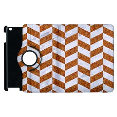 Chevron1 White Marble & Rusted Metal Apple Ipad 2 Flip 360 Case by trendistuff