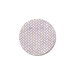 Brick2 White Marble & Rusted Metal (r) Golf Ball Marker by trendistuff