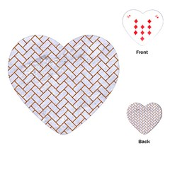 Brick2 White Marble & Rusted Metal (r) Playing Cards (heart)  by trendistuff