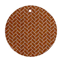 Brick2 White Marble & Rusted Metal Round Ornament (two Sides) by trendistuff