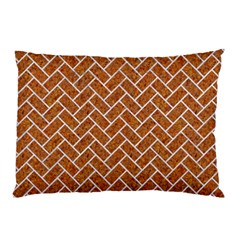 Brick2 White Marble & Rusted Metal Pillow Case (two Sides) by trendistuff
