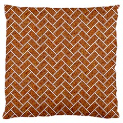 Brick2 White Marble & Rusted Metal Large Flano Cushion Case (two Sides) by trendistuff