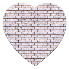 Brick1 White Marble & Rusted Metal (r) Jigsaw Puzzle (heart) by trendistuff