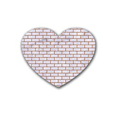 Brick1 White Marble & Rusted Metal (r) Rubber Coaster (heart)
