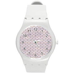Brick1 White Marble & Rusted Metal (r) Round Plastic Sport Watch (m) by trendistuff