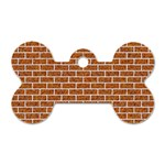 BRICK1 WHITE MARBLE & RUSTED METAL Dog Tag Bone (Two Sides) Front