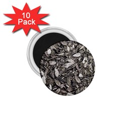 Black And White Leaves Pattern 1 75  Magnets (10 Pack)  by dflcprints